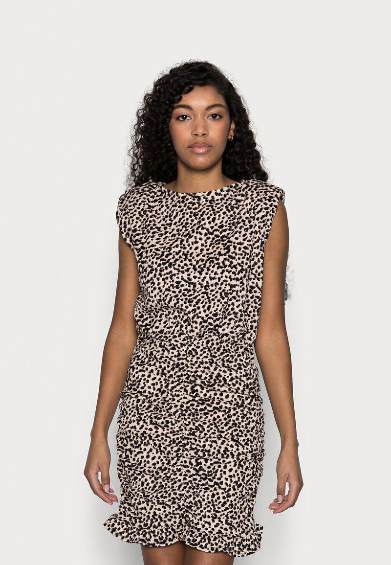 New Look Petite - SHOULDER PAD RUCHED DRESS - Day dress - beige/black