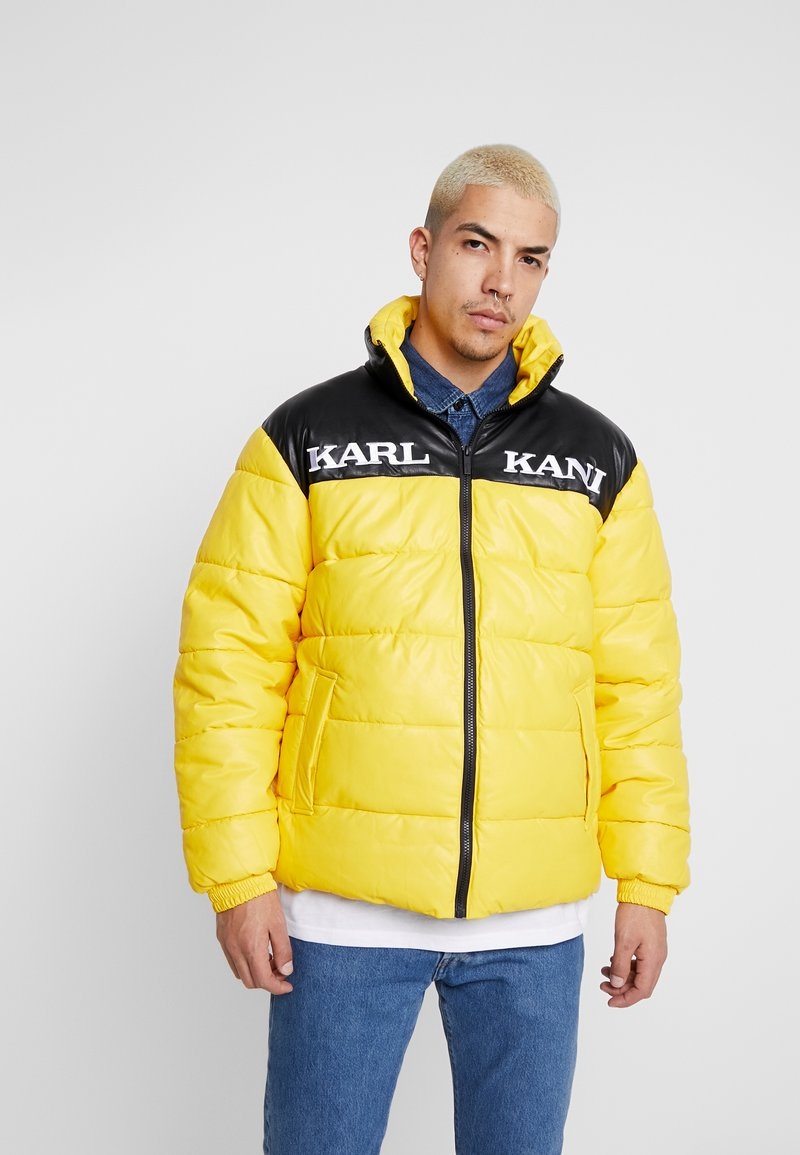 Karl Kani - RETRO BLOCK PUFFER JACKET - Zimní bunda - yellow/black