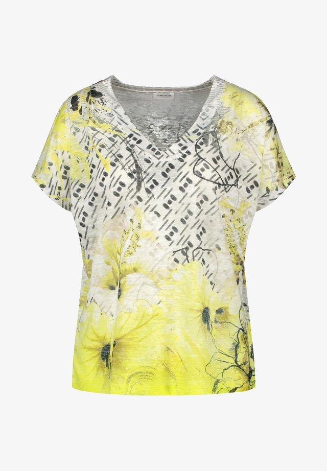 T-shirt print - ecru/deep forest/lime druck