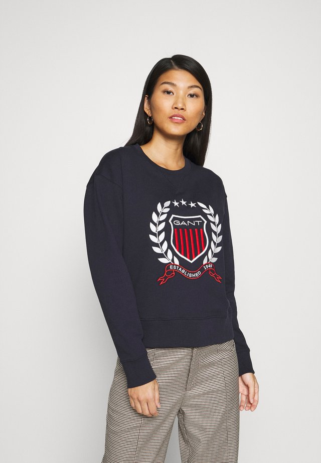 CREST NECK  - Sweatshirt - evening blue