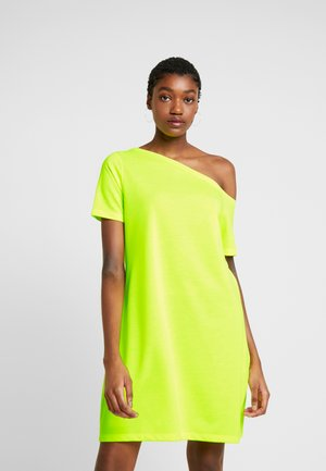 OFF SHOULDER RELAXED - Jersey dress - neon yellow
