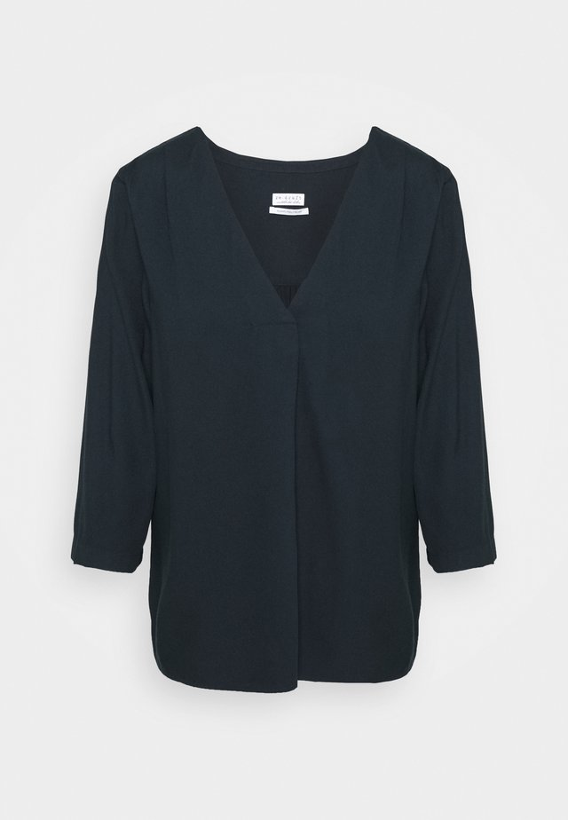 BLOUSE WITH PLEAT - Blusa - night navy