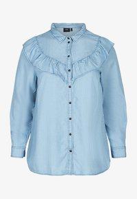 Zizzi - MIT RÜSCHEN - Button-down blouse - light blue - 3