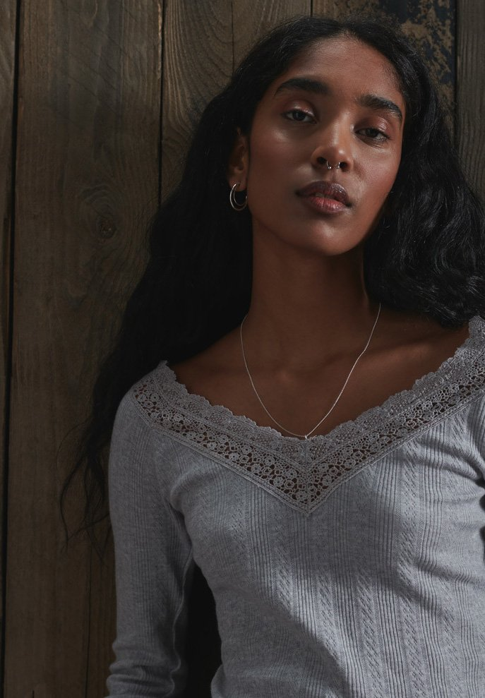 Superdry - LACE POINTELLE - Blouse - grey marl