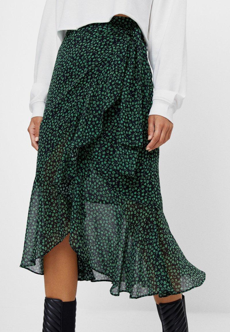 Bershka - MIT PRINT  - A-line skirt - black