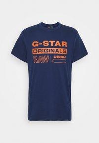 G-Star - WAVY LOGO ORIGINALS ROUND SHORT SLEEVE - Print T-shirt - compact peach/imperial blue - 3