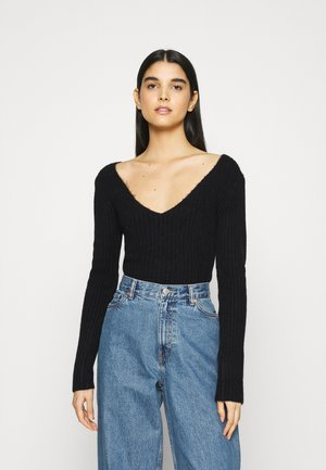 PAOLINA V NECK - Jumper - black