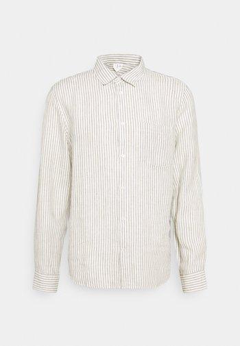 Linen Shirt - Shirt - green/white