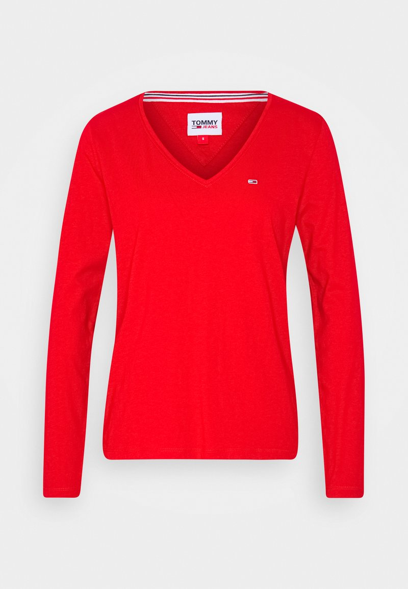 Tommy Jeans - V NECK LONGSLEEVE - Long sleeved top - deep crimson