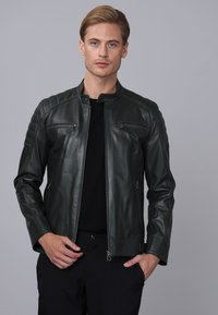Basics and More - Leather jacket - green - 2
