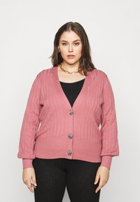 Simply Be - V NECK  - Cardigan - baked pink - 0