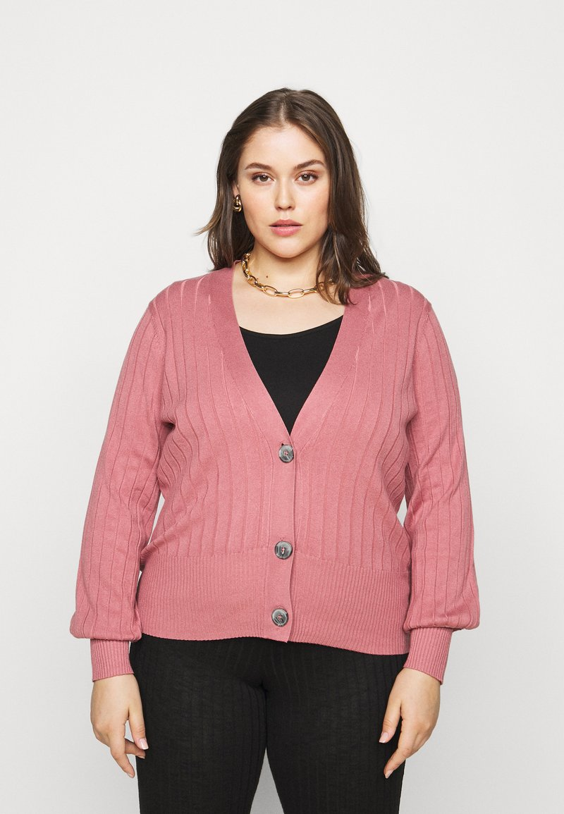 Simply Be - V NECK  - Cardigan - baked pink