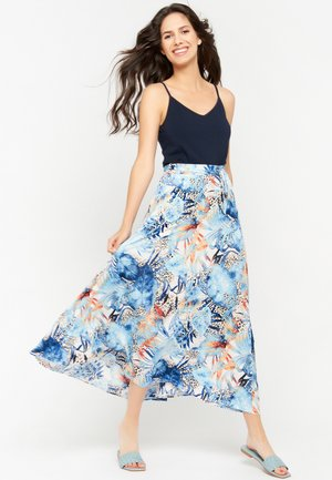 FLORAL AND LEOPARD - Maxi skirt - blue