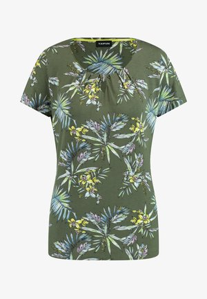 Print T-shirt - botanical green gemustert
