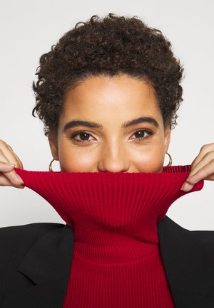 BASIC- RIBBED TURTLE NECK - Jumper - red