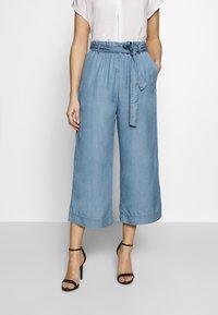Marc O'Polo DENIM - PANTS WIDE LEG BELT - Trousers - blue grey - 0