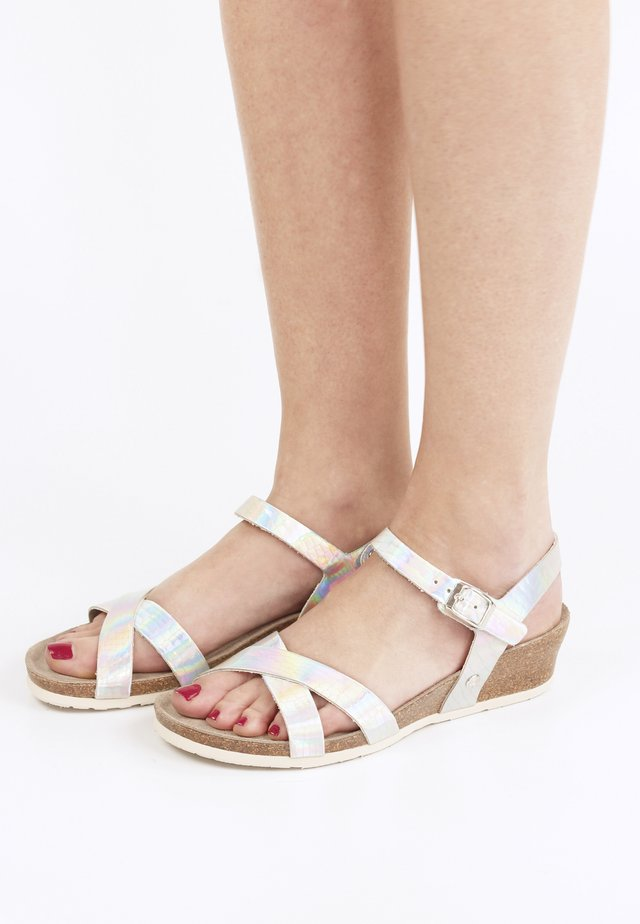 Sandalen met sleehak - silber