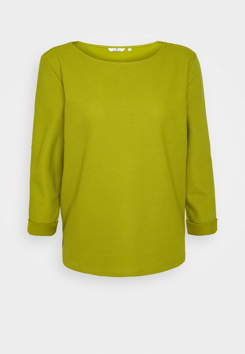 TOM TAILOR - STRUCTURE CREW NECK - Long sleeved top - wood green