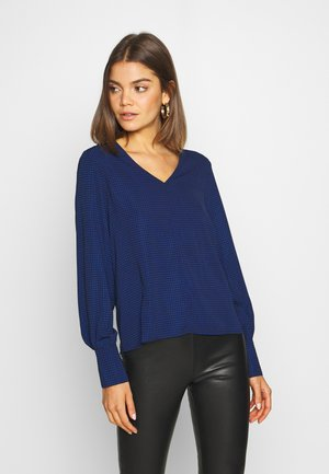 ONLFRANCY LIFE V-NECK - Topper langermet - black/tiny electric leo/sodalite