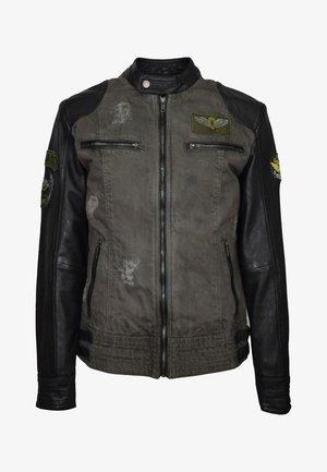 Leather jacket - olivgrün