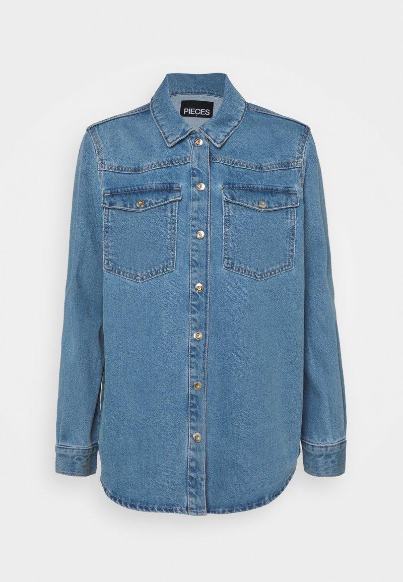 Pieces - PCGRAY SHACKET - Denim jacket - light blue denim