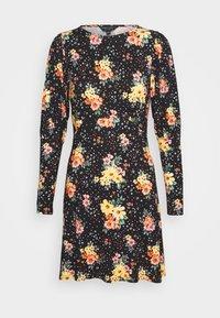 PUFF SLEEVE FLORAL DRESS - Jersey dress - black