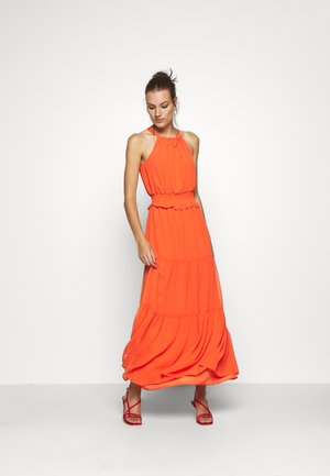 SHIRRED WAIST HALTER DRESS - Maxi dress - copper