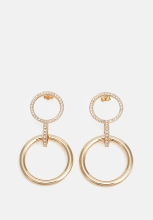 POST DOUBLE CIRCLE WITH LINK PENDANT - Oorbellen - gold-coloured