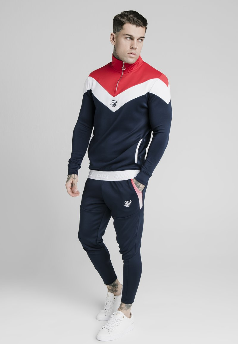 SIKSILK - RETRO QUARTER ZIP OVERHEAD TRACK  - Sweatshirt - navy/red/white
