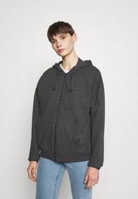 Even&Odd - Oversized Hooded Sweat Jacket - Zip-up hoodie - mottled dark grey - 0