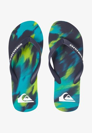MOLOKAI MARLED - T-bar sandals - blue/blue/green