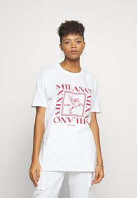 Missguided - MILANO GRAPHIC SHORT SLEEVE  - T-shirt con stampa - white - 0