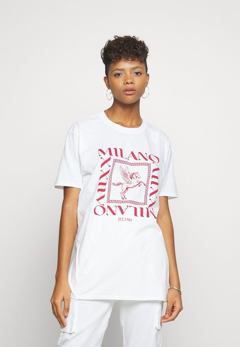 Missguided - MILANO GRAPHIC SHORT SLEEVE  - T-shirt con stampa - white