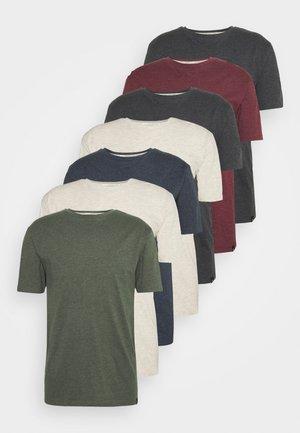 CORE 7 PACK - T-shirt basic - off white/mid grey/burgundy/khaki/navy