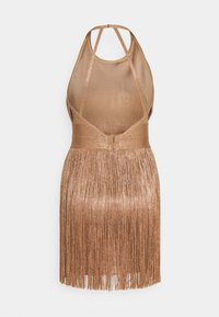 Hervé Léger - HIGH NECK FOIL FRINGE DRESS - Vestito elegante - gold - 1