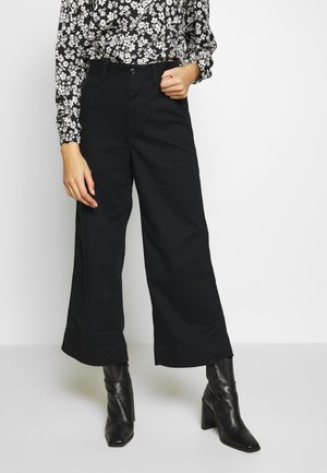 WIDE LEG SOLID - Trousers - true black