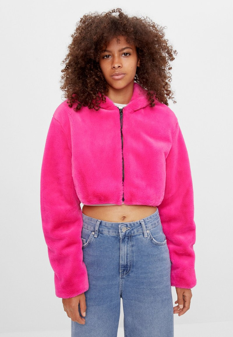 Bershka - MIT KAPUZE - Fleecová bunda - neon pink