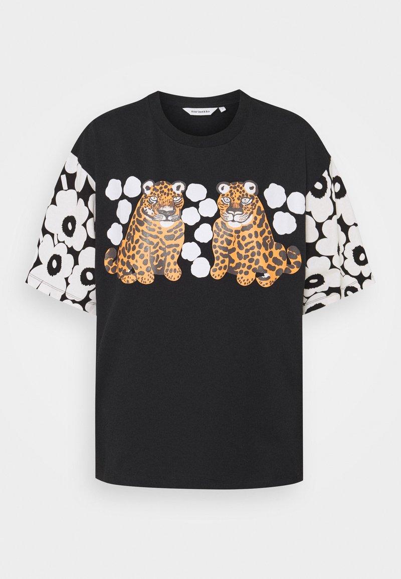 Marimekko - KARHUNPUTKI KAKSOSET PLACEMENT - Print T-shirt - black/off white/orange brown