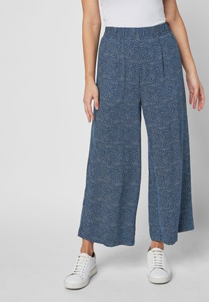 NAVY PRINTED CULOTTES - Trousers - blue