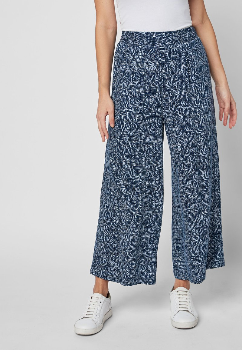 Next - NAVY PRINTED CULOTTES - Trousers - blue