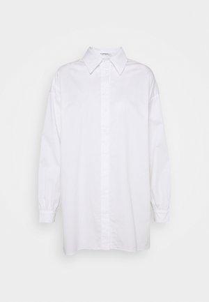 STRUCTURED PUFF NECKLINE DRESS - Košilové šaty - white