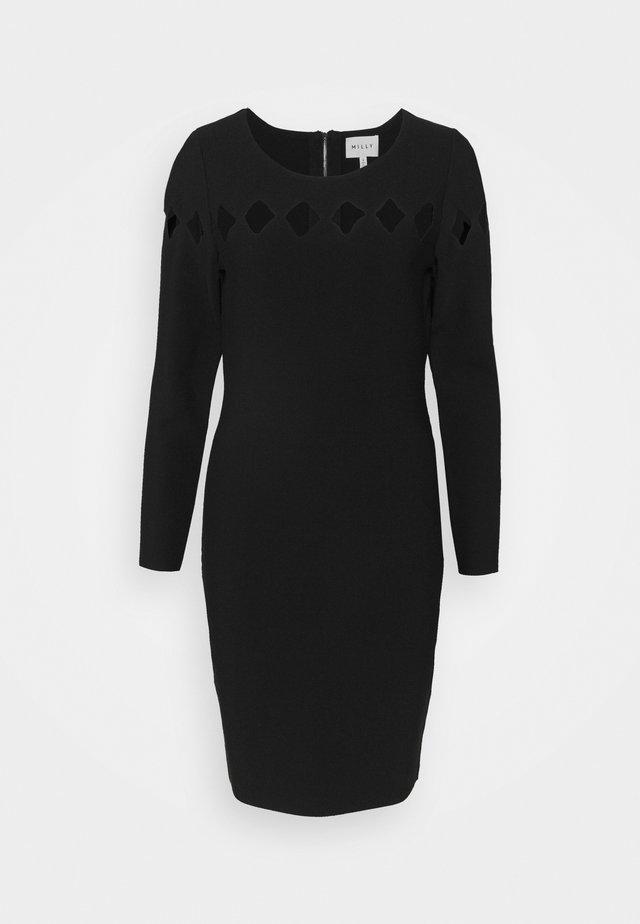 SCALLOP CUT OUT FITTED DRESS - Etui-jurk - black