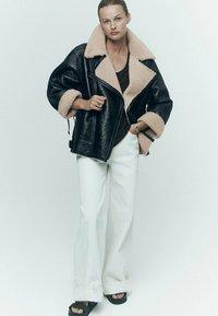 Massimo Dutti - BIKER LAMMFELL - Leather jacket - black - 0