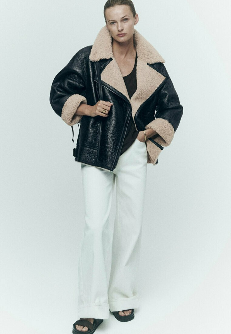 Massimo Dutti - BIKER LAMMFELL - Leather jacket - black