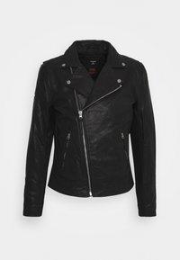 MOTO BIKER - Leather jacket - black