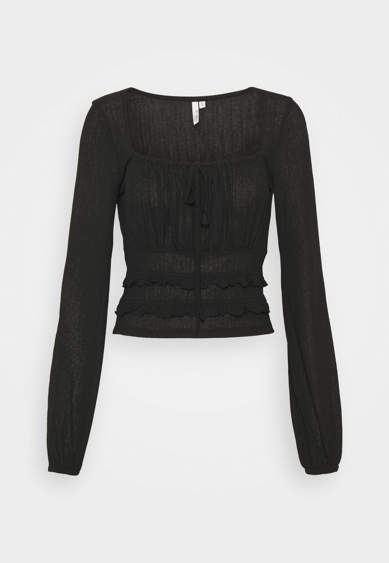 Nly by Nelly - SHEER TIE - Long sleeved top - black
