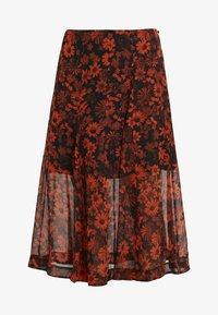 McQ Alexander McQueen - SEAMED GODET SKIRT - A-line skirt - darkest black/orange - 4