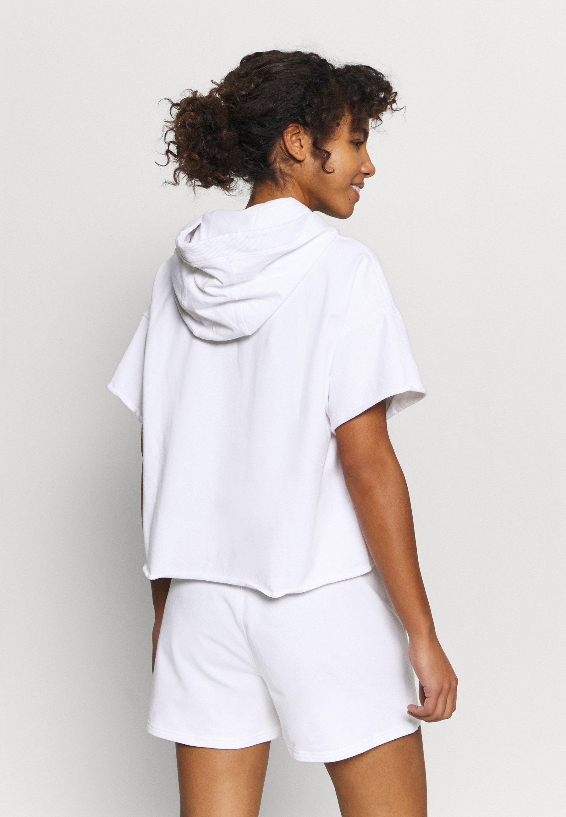 Women LOGO LACE DRAWCORD CROPPED SHORT SLEEVE HOODIE - Sweatshirt