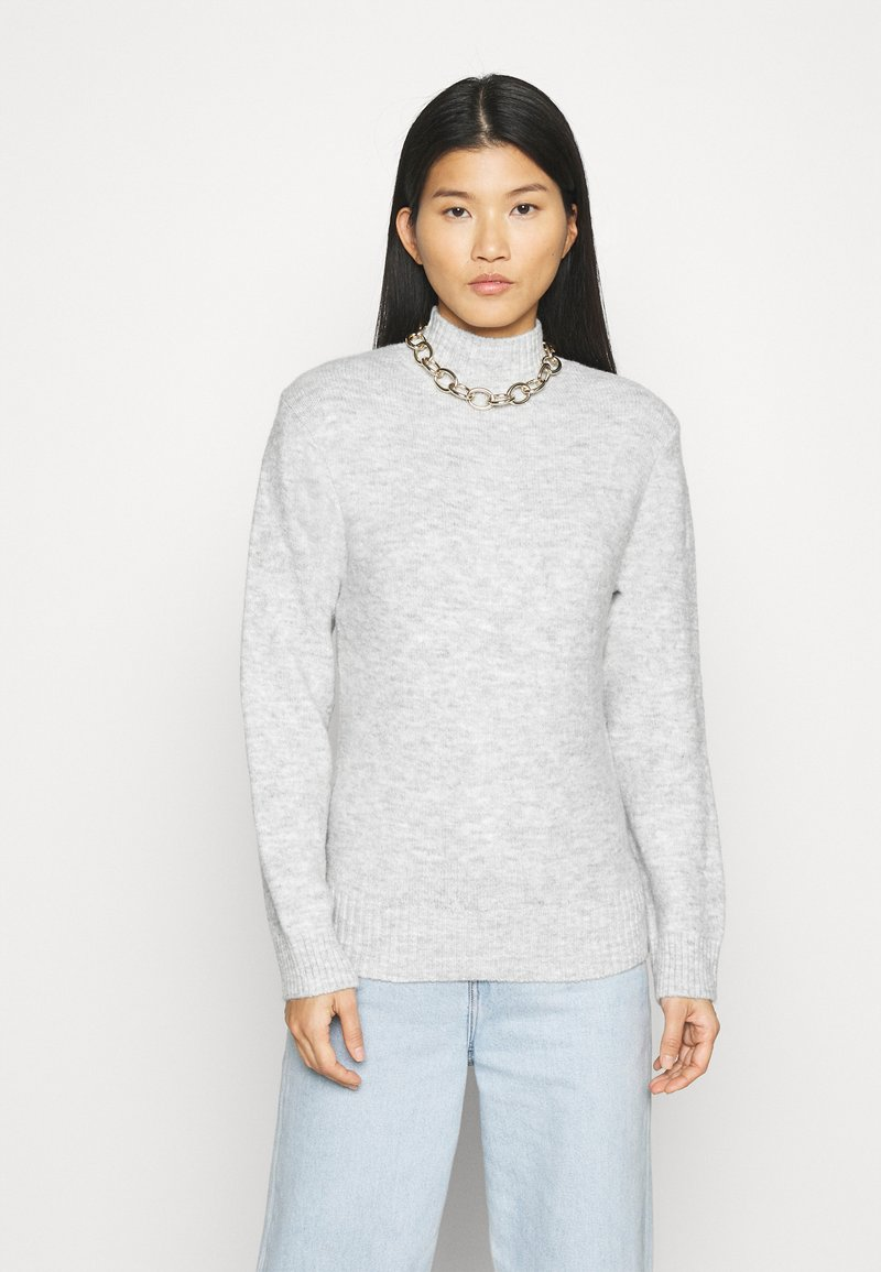 Anna Field - BASIC-PERKIN NECK - Jumper - mottled light grey