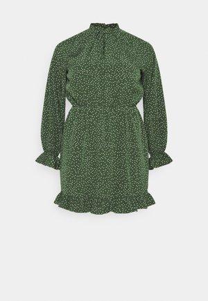HIGH NECK KEYHOLE DRESS POLKA - Day dress - green